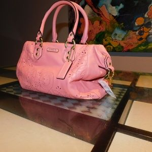 Coach Laser Cut Satchel Salmon
